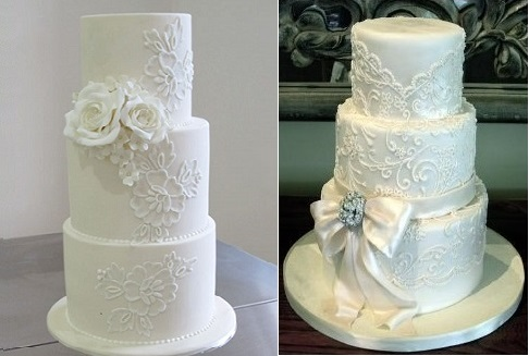 lace piping wedding cakes, images via Pinterest