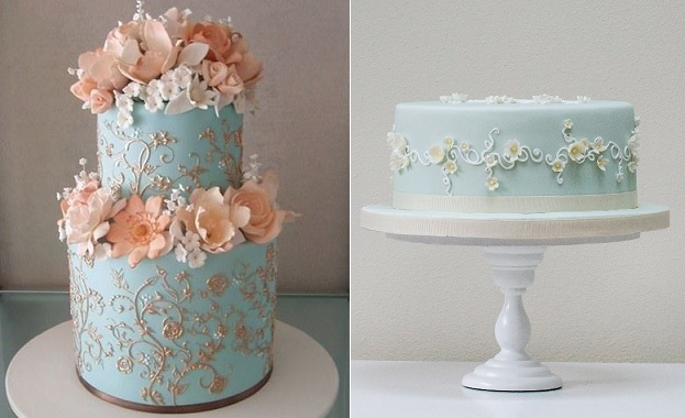 lace piping with piped scroll design and piped vines by Rosalind Miller Cakes right and via Pinterest left