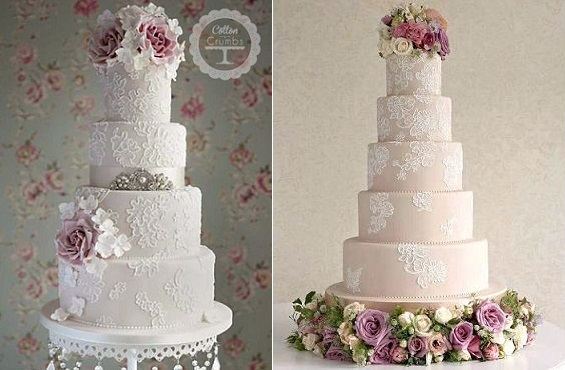 lace wedding cakes with lace piping brush embroidery from Cotton & Crumbs (left) and The Cake Parlour's Zoe Clark (right)