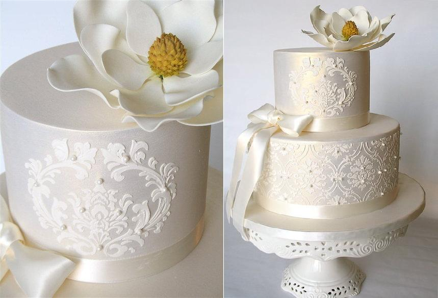 stencilled lace wedding cake by Kathy's Little Cakery