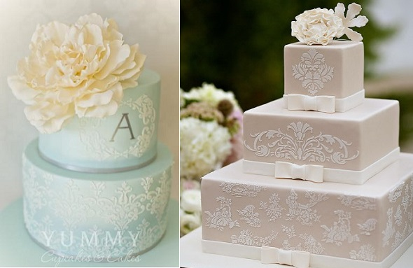 wedding cakes decorated with lace cake stencils by Yummy Cupcakes.com.au and Coastal Confections