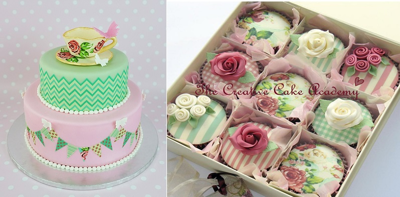 Edible Icing Sheets tutorial and cake from Cake Journal (left) and cupcakes by The Creative Cake Academy (right)