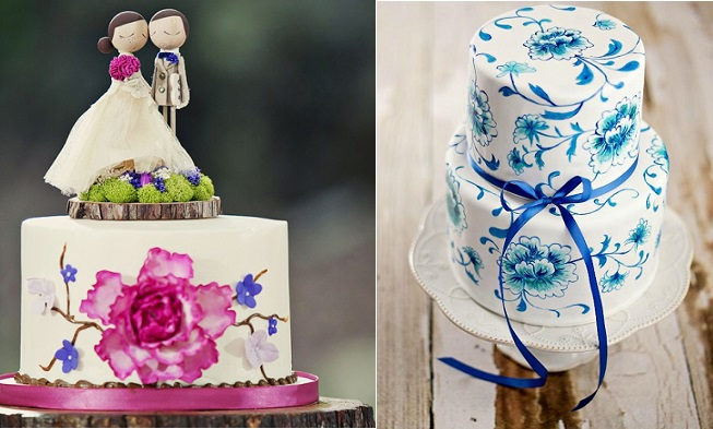Hand painted cakes by Charlotte Wedding Cake (left) and Sweetapolita (right)