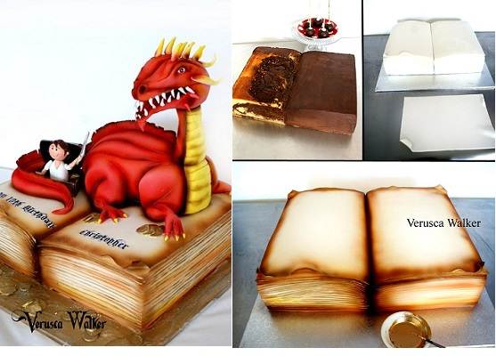 story book cake with dinosaur by Verusca Walker