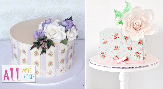 edible icing sheets with cakes by All Ways Cakes (left) and Minnie's Sweet Creations (right)