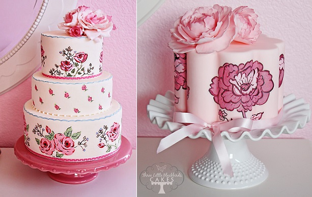 hand-painted cakes by Three Little Blackbirds Cakes