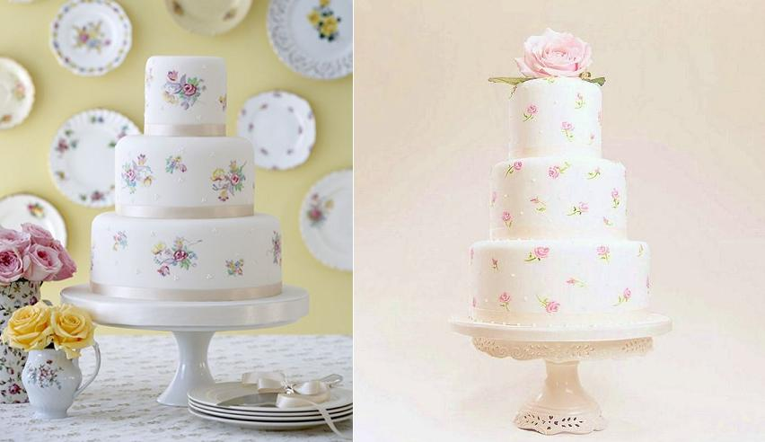 hand painted cakes from the Cake Parlour left and from Bath Baby Cakes right