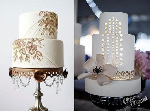 jewelled wedding cakes in gold