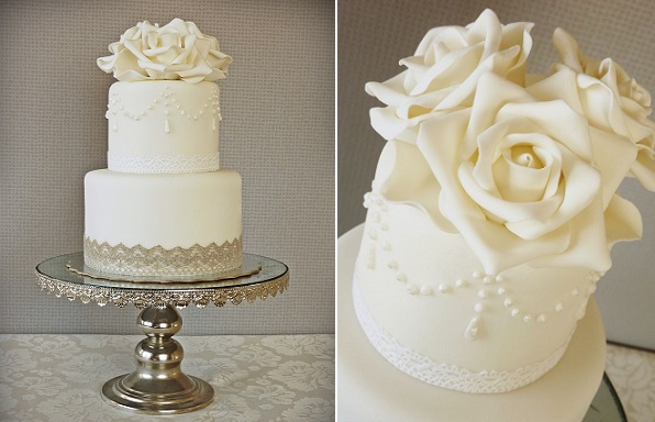 lace wedding cake decorated with lace trim by Mina Magiska Bakverk in Sweden