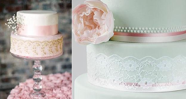 lace wedding cakes  via 100LayerCake.com left from little-cow-creative-cakes-.co_.uk right