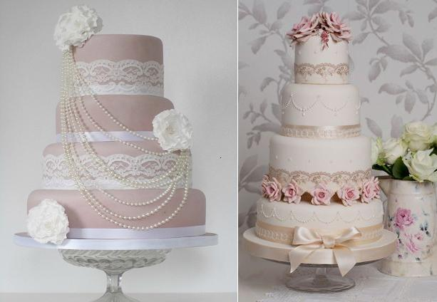 lace wedding cakes wiith lace trim from Pinterest left and from Rachelle's Cakes UK right