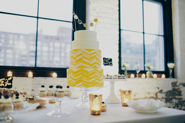 lemon wedding cake with bunting cake topper and with chevron design by Lael Cakes, Samm Blake Photographer