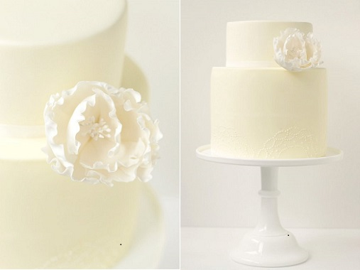 lemon wedding cake with lace piping by Hello Naomi Cake Design