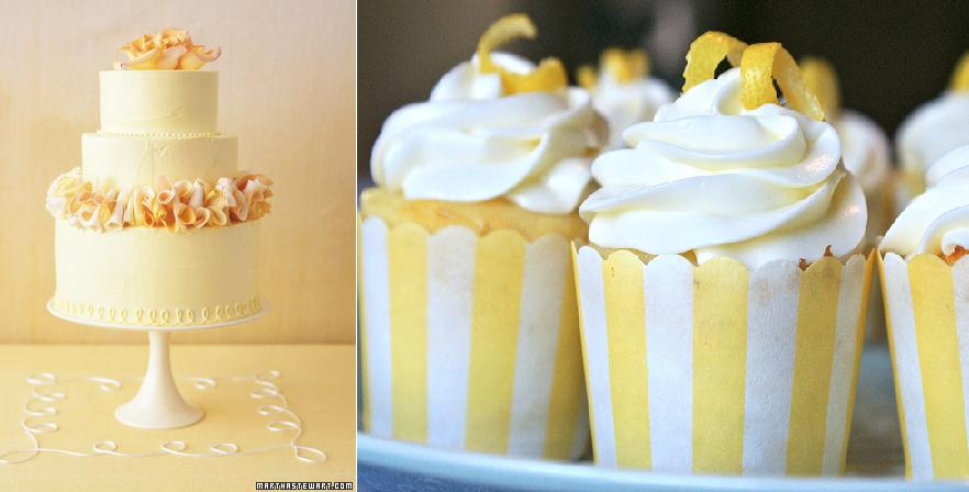 yellow wedding cake from Martha Stewart.com left and lemon striped cupcakes from Katira Bakes right