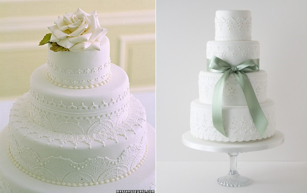 Broderie Anglaise or Eyelet Lace wedding cakes by Ron Ben Israel via Martha Stewart. com (left) and by Zoe Clark of The Cake Parlour (right)