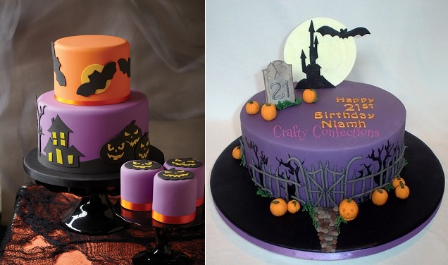 Halloween cakes from Pinterest.com (left) and Crafty Confections (right)