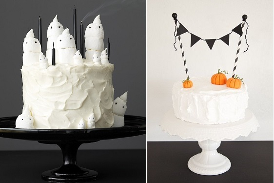 Halloween cakes ghost cake by Martha Stewart (left) and from Cake Journal (right)