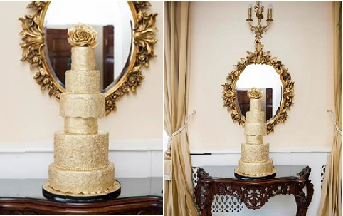 gold wedding cake vintage style by Elizabeth's Cake Emporium, FO Photography