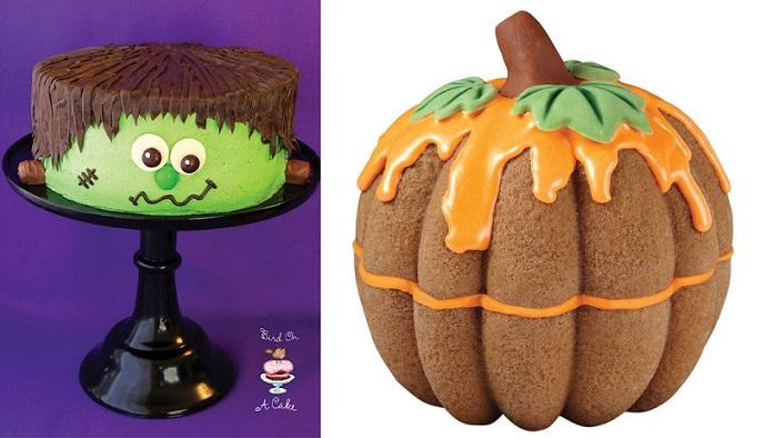 halloween cakes Frankenstein Monster Cake from Bird on Cake Bakery and bundt cake Pumpkin  cake by Wilton