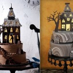 halloween cakes haunted house by Martha Stewart Living (left) and via Indulgy.com (right)
