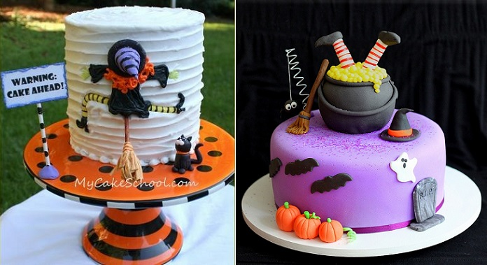 halloween cakes with witch theme from mycakeschool.com (left) and The Cookie Shop (right)