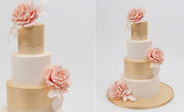 metallic gold wedding cake by Helen Mansey of Bellissimo Cakes UK