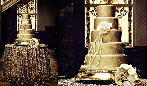 metallic gold wedding cake for Gatsby style wedding vintage 1920's image via Pinterest