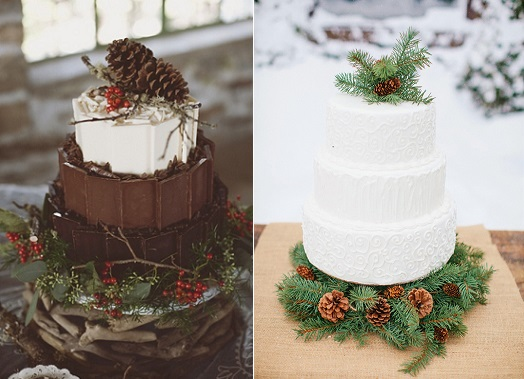 Chocolate Winter Wedding Cakes (images sourced from Pinterest)