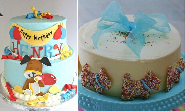 Dog cake designs by Bella Cakes By Andrea (left) and by Eve Fortescue (right)