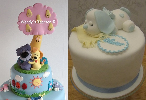 Dog cake designs by Wendy's Taarten (left) and Sleeping Puppy Cake by Essentially Cakes on Cakesdecor.com