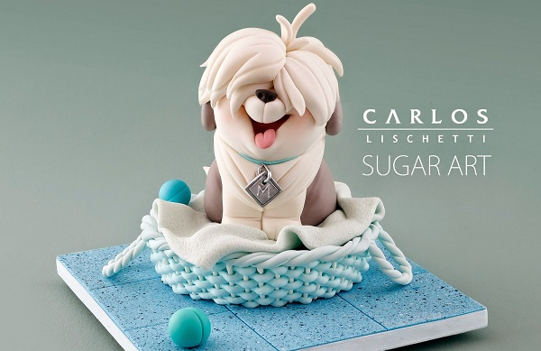 English sheep dog cake topper by Carlos Lischetti from Animation in Sugar Take 2