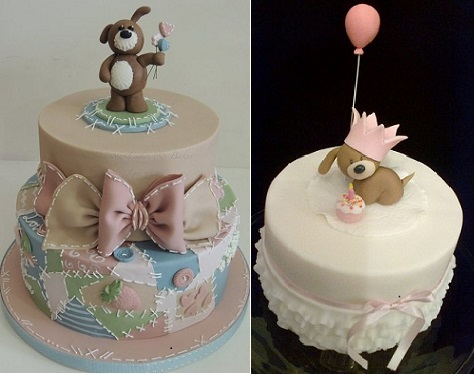 Patchwork Puppy cake by Shereen's Cakes on Cakesdecor.com (left) and Party Puppy cake by Julia Hardy (Peggy Pal on Flickr) on the right