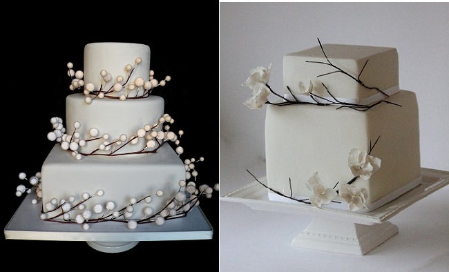 Pearlized-Snow-Berry-Winter Wedding Cake by Bumble Bee Cakes UK (left) and Winter Wedding Cake by Happy Hills Cakes (right)