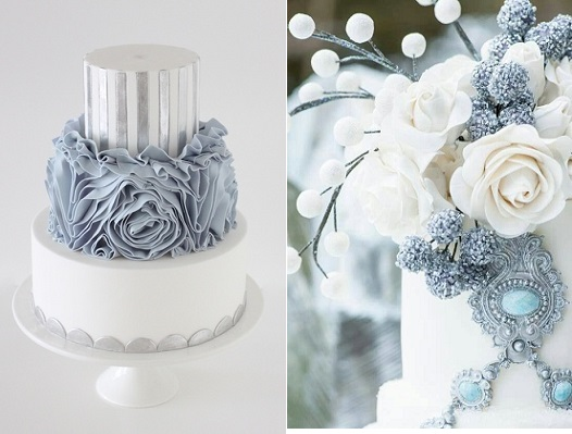 Silver grey wedding cake by Sharon Wee (left) and on the right, from Pinterest