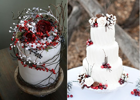 Winter berry wedding cakes by Amy Swann Cakes (left) and photo on right by Courtney Lee Photography via Pinterest