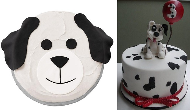 dog cake by Wilton (left) and dalmation dog cake by Sugar Allure at CakesDecor.com