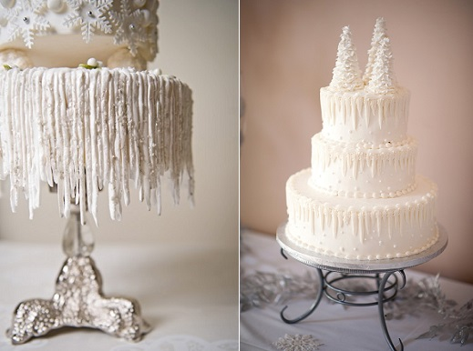 icicles cake tutorial from Cake Central by Jackie (left) and image on right by Kristyn Harder Photography