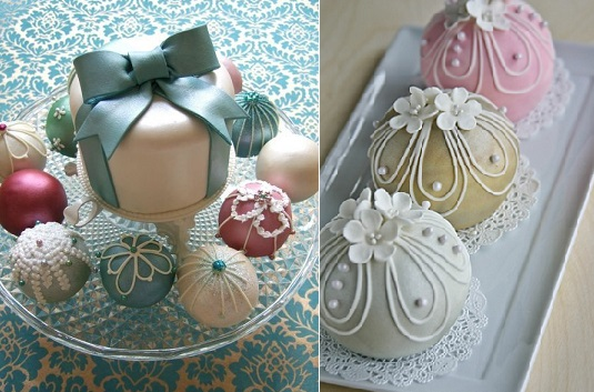 Christmas bauble cakes from Maki's Cakes (left) and christmas bauble cake tutorial from emma-lee design.com (right)