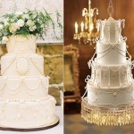 Downton Abbey wedding cakes by La Cakerie with photo by Kimberly Brooke left and from Tortas Paso a Paso right