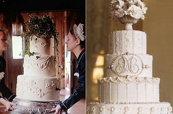 Downton Abbey wedding cake left and antique style wedding cake by Collette Peters right