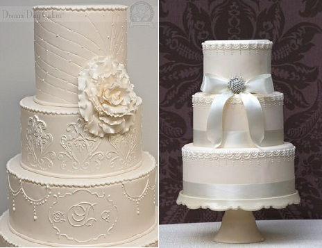 Downton Abbey wedding cakes from Dream Day Cakes left and from Vanilla Bake Shop right