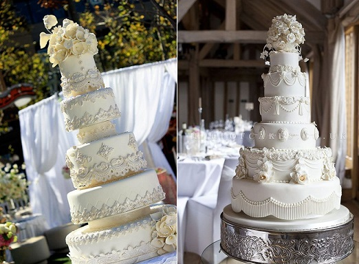 Downton Abbey wedding cakes from Pinterest left and from Hall of Cakes UK right