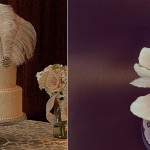 Downton style wedding cake with vintage feathers from Pinterest (left) and cake with feathers by FireflyIndia on Cakes Decor. com (right)