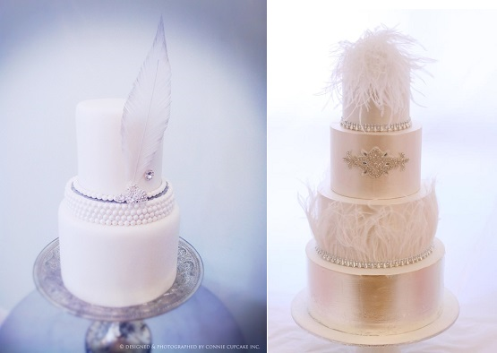 Gatsby style wedding cake with vintage feather by Connie Cupcake (left) and vintage feather wedding cake (right) from Pinterest)