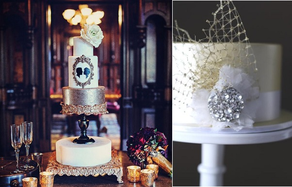 Gatsby theme wedding cake by Cake Goodness via Project Wedding, photo by William Innes (left) and by Couture Cupcakes Australia (right)