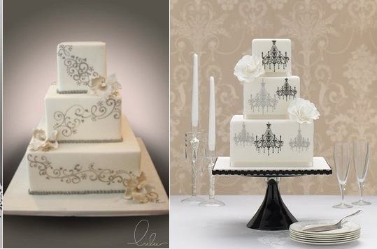 Gatsby theme wedding cakes from Lulu Cake Boutique (left) and from Zoe Clark of The Cake Parlour (right)