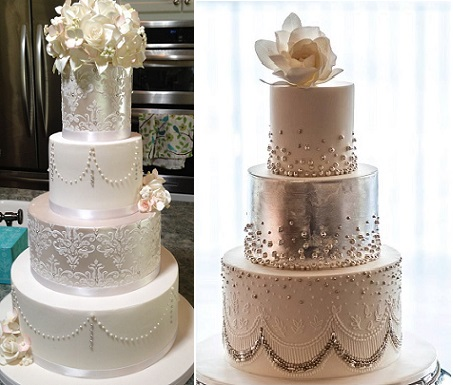 Gatsby wedding cakes from Sugar Art by Susan left and from Faye Cahill Cake Design right