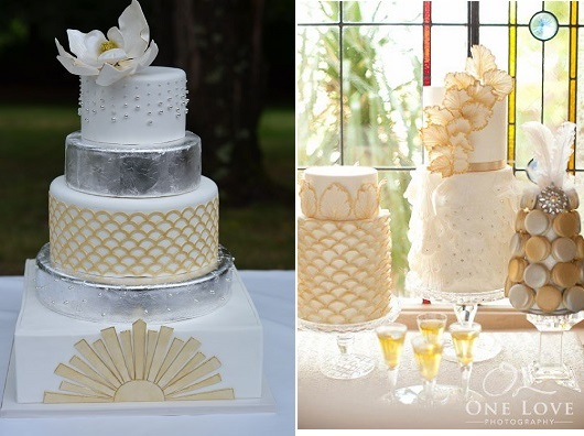Gatsby wedding cakes in art deco style from But A Dream Custom Cakes left and by Blissfully Sweet Cakes right via The Little Big Company