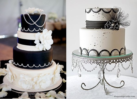 Gatsby wedding cakes in black and white from The Pastry Studio right and via Indulgy.com left