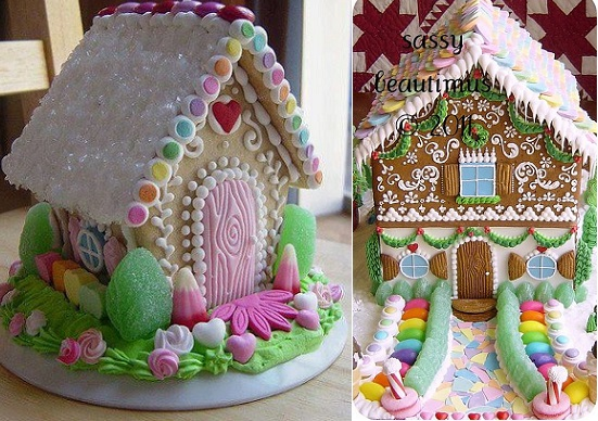 Gingerbread houses from Sassy Beautimus (right) and from Pinterest (left)